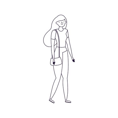 young woman cartoon character standing Illustration