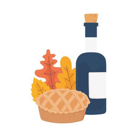 happy thanksgiving day cake wine bottle foliage autumn