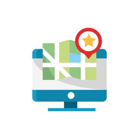 computadora mapa ubicación puntero favorito navegación gps Ilustración de vector