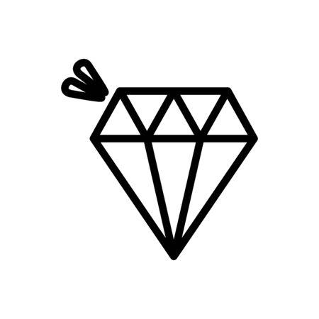 Icono de lujo de joyas de diamantes en línea gruesa de fondo blanco