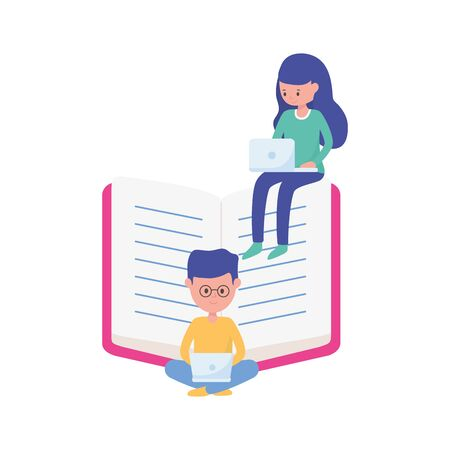 students boy and girl with laptops and book learning online vector illustration