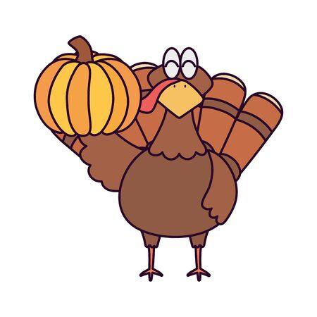 happy thanksgiving day turkey with pumpkin