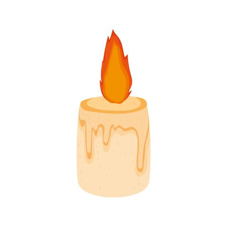 burning candle decoration on white background Illusztráció