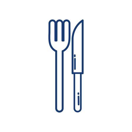 Conception d'icône fourchette et couteau isolé