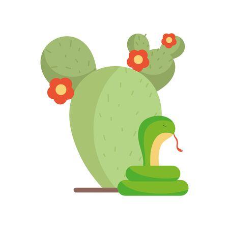 Isolated cactus and snake vector design Ilustración de vector