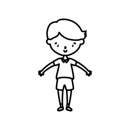 little boy infant cartoon character line style  イラスト・ベクター素材