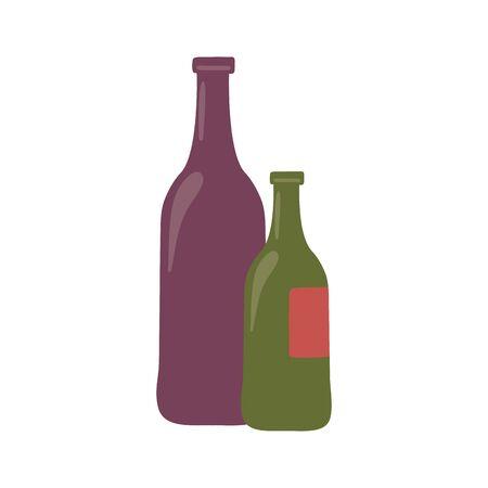 Isolated wine bottles vector design