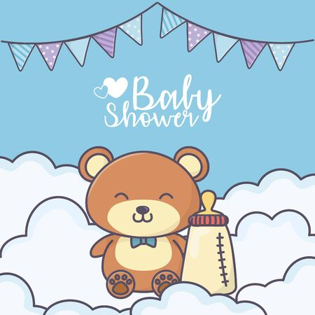 baby shower cute teddy bear with bottle