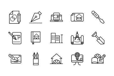 architecture construction tools icons set line