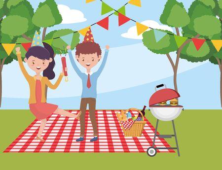 Woman and man cartoon having picnic vector design Stock Illustratie