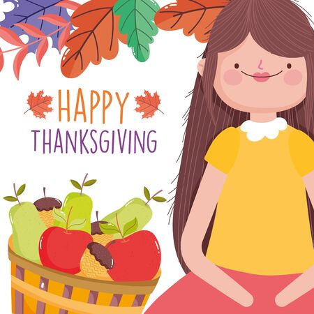 happy thanksgiving celebration woman with basket filled fruits and leaves decoration vector illustration