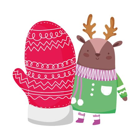 merry christmas cute deer with sweater scarf and glove vector illustration