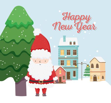 happy new year 2020 celebration cute santa tree town snow vector illustration