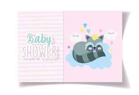 sleep raccoon clouds cartoon baby shower card Illustration