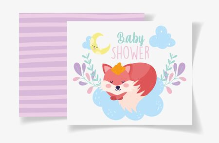 fox sleep moon foliage decoration baby shower card vector illustration