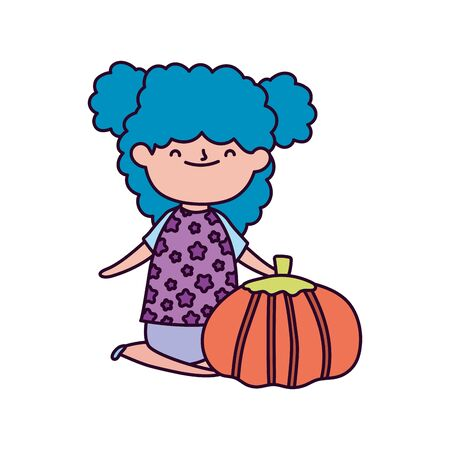 happy thanksgiving day cute little girl blue hair with pumpkins vector illustration