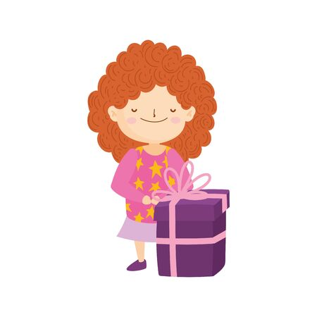 merry christmas little girl with ugly sweater and gift vector illustration