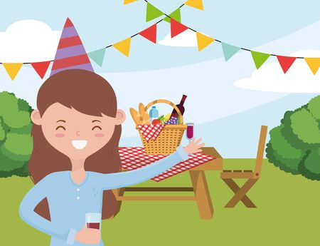 Woman cartoon having picnic design, Food party summer outdoor leisure healthy spring lunch and meal theme Vector illustration