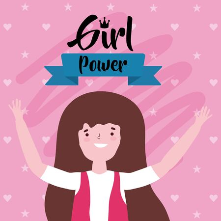 Girl cartoon of power and strong concept vector design Ilustrace