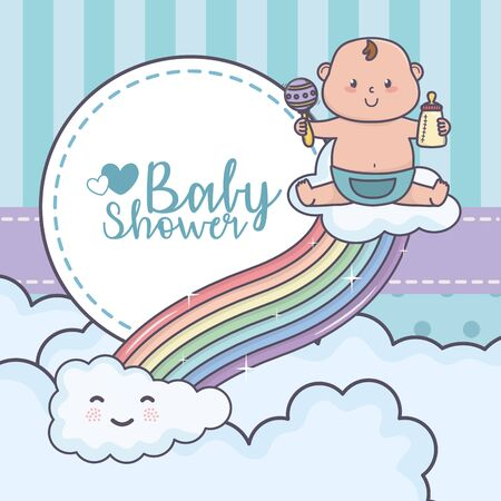 baby shower little boy with rattle playing rainbow clouds Vectores