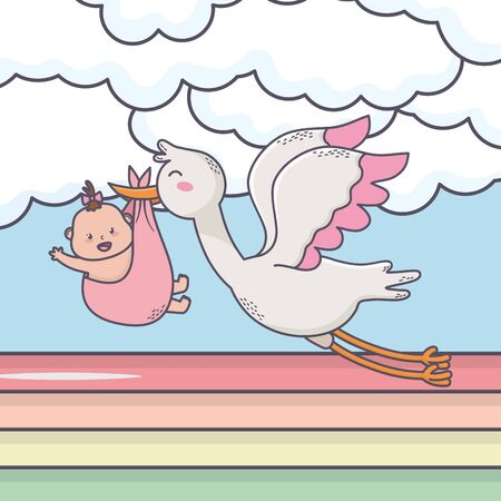 baby shower flying stork with little girl sun clouds rainbow Illustration
