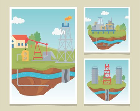 tower equipment process exploration fracking vector illustration
