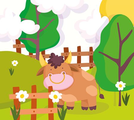 farm animals bull behind wooden fence tree flowers