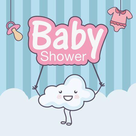 baby shower cute cartoon cloud with inscription