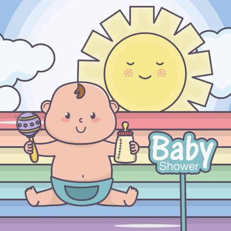 baby shower little boy with bottle and rattle rainbow sun