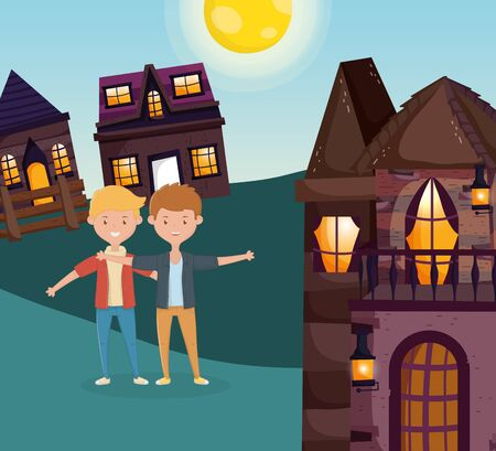 two man friends hugging outside the cottage vector illustration