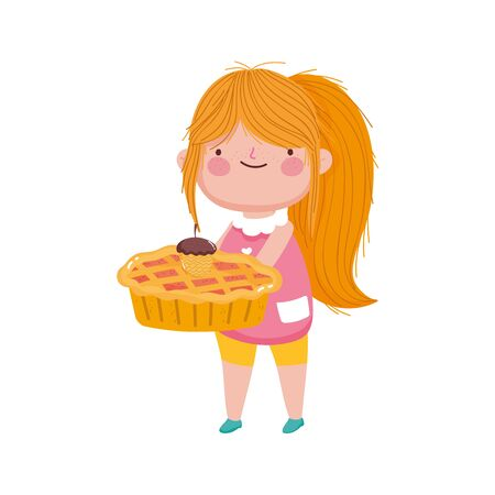 happy thanksgiving day cute little girl holding pie and acorn vector illustration
