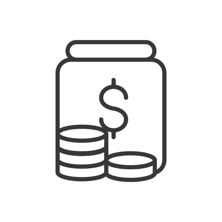 coins dollar currency finance bank money icon thick line vector illustration