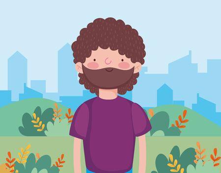 bearded man in outddor cityscape happy thanksgiving celebration vector illustration Ilustracja