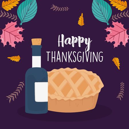 happy thanksgiving day tasty cake wine bottle