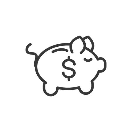 piggy bank finance money icon thick line