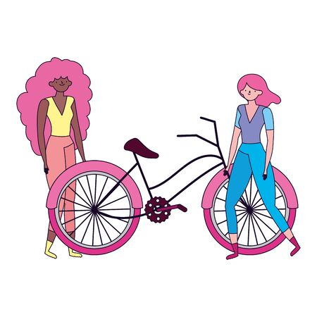 ecology young women with bike transport Illustration