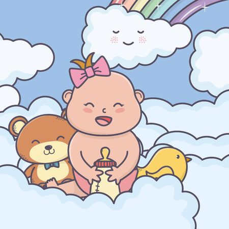 baby shower little girl bear duck in clouds
