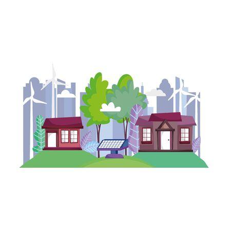 houses city town wind turbine solar panel ecology