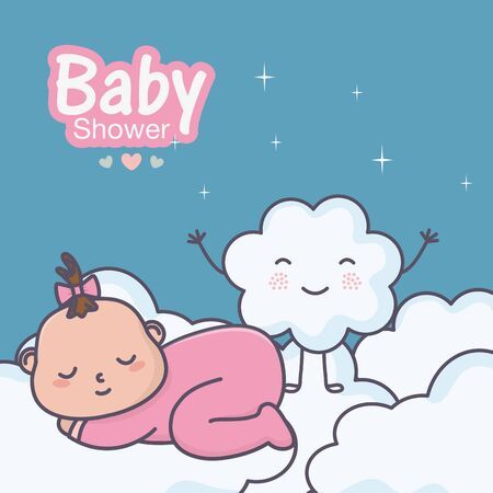 baby shower cute little baby sleeping on clouds