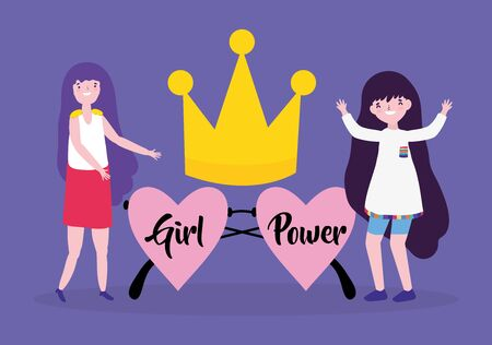Girls cartoons of power and strong concept vector design Ilustrace