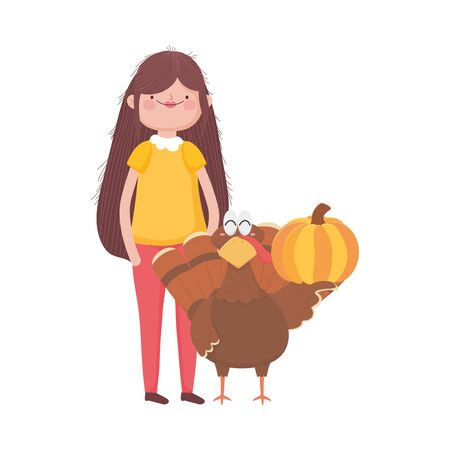 happy thanksgiving day woman with turkey and pumpkin