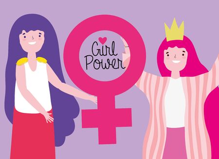 Girls cartoons design, Power strong woman female feminism freedom and fight theme Vector illustration