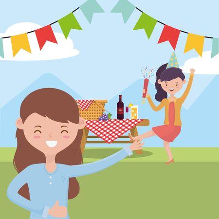 Women cartoons having picnic vector design Illustration