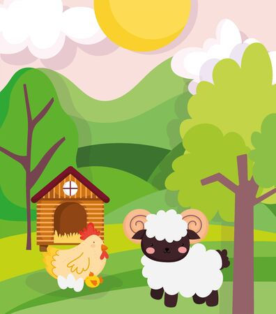 farm animals sheep and chicken barn trees