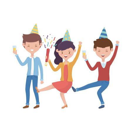 Woman and men with birthday hat vector design