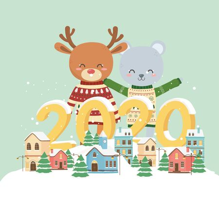 happy new year 2020 celebration cute bear reindeer with sweater town houses snow decoration