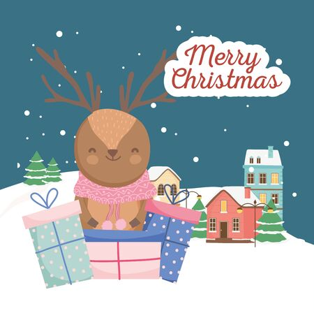 merry christmas celebration cute deer with sweater gifts town snow decoration vector illustration