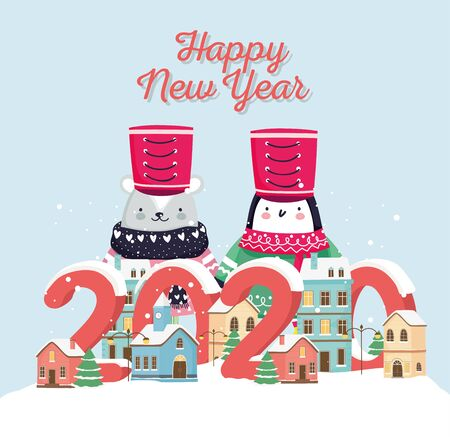 happy new year 2020 celebration cute bear penguin with hat sweater town snow vector illustration