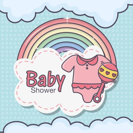 baby shower pink bodysuit little rattle rainbow clouds Ilustracja
