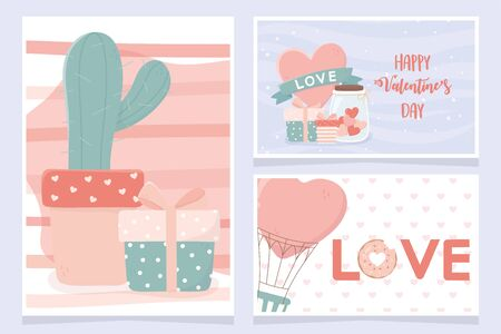 happy valentines day banners cactus ifts heart air balloon set